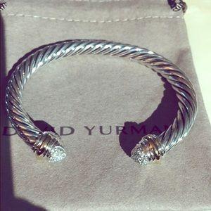 $1800 SALE🎀 D.Y pave diamond bangle 925 2 tone